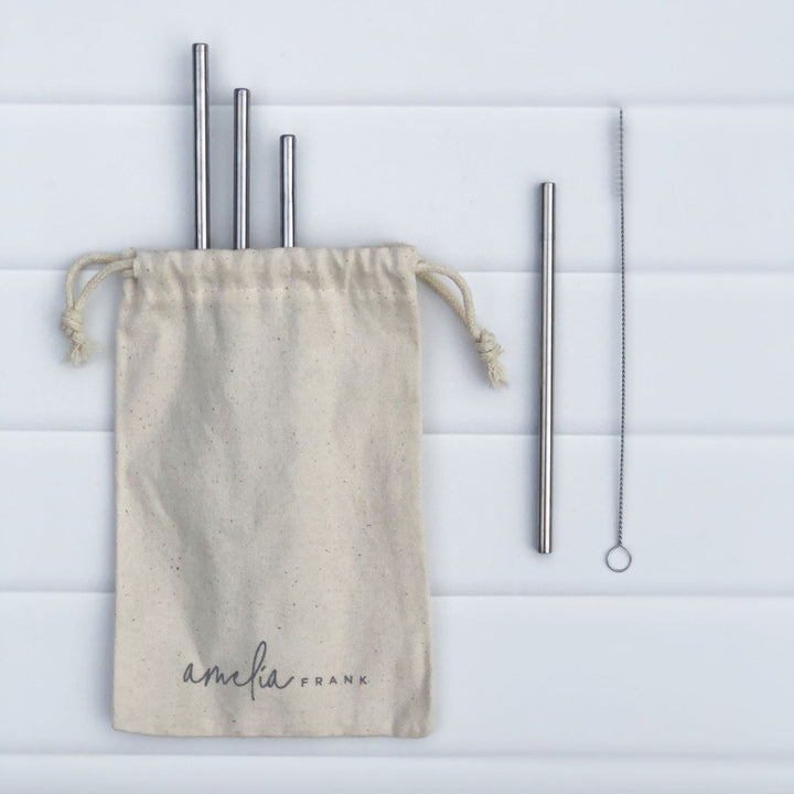 Children's Size Stainless Steel Straws - 4 Pack