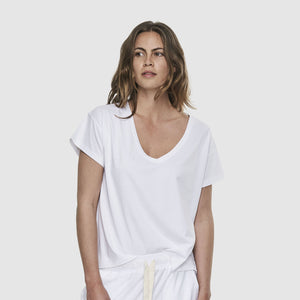 Deep V Neck T-Shirt - White
