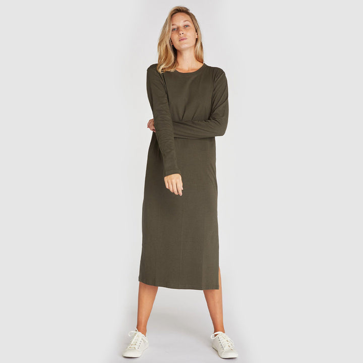 Cloth & Co The Boxy Long Sleeve Dress - Deep Forest