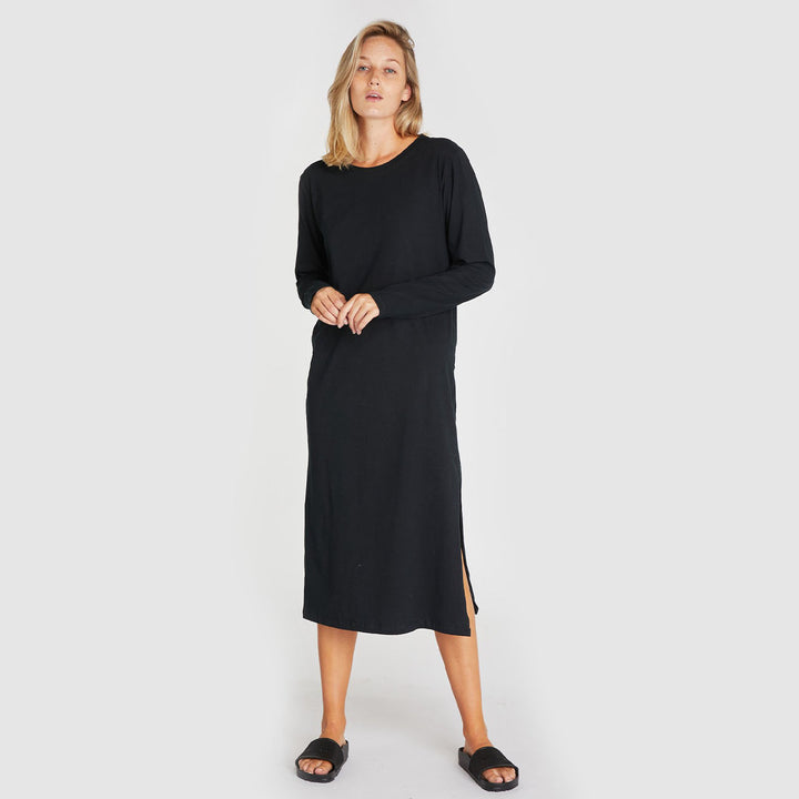 The Boxy Long Sleeve Dress - Squid Ink