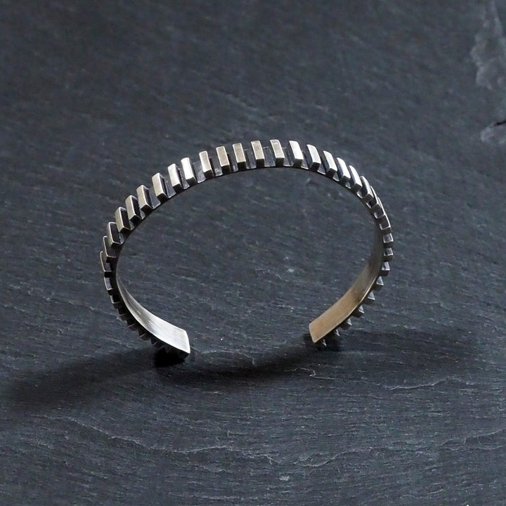 Smith & Poet - Linear Cuff Bracelet - Oxidised Silver