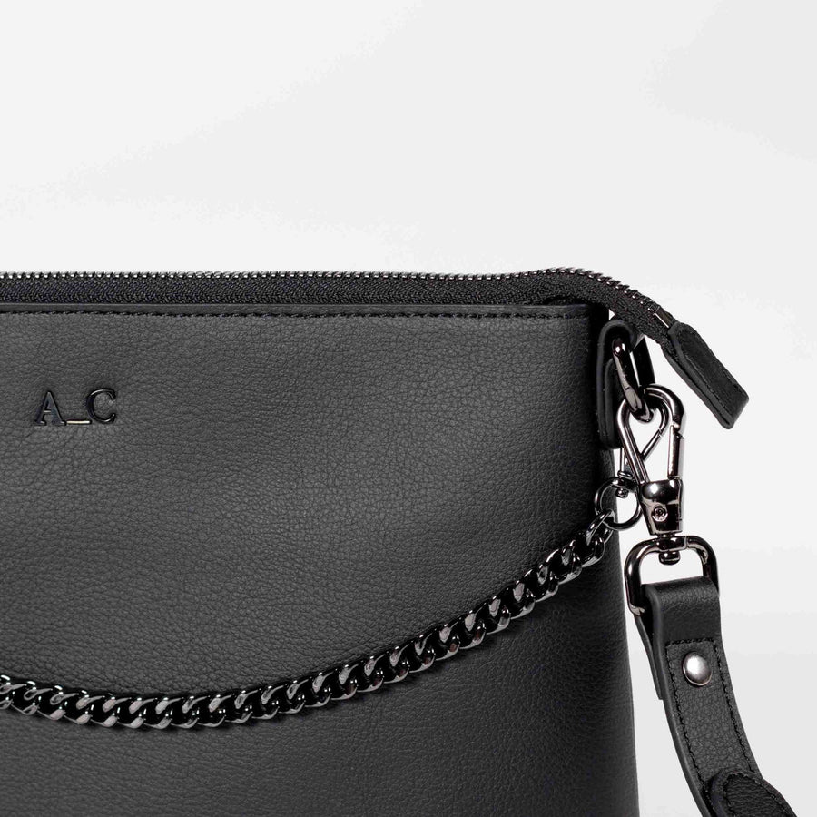 Cross-Body Peta Pouch - Cactus Leather Black - Vegan Luxury Handbag