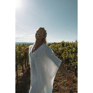 Let There Be Peace Kaftan - White