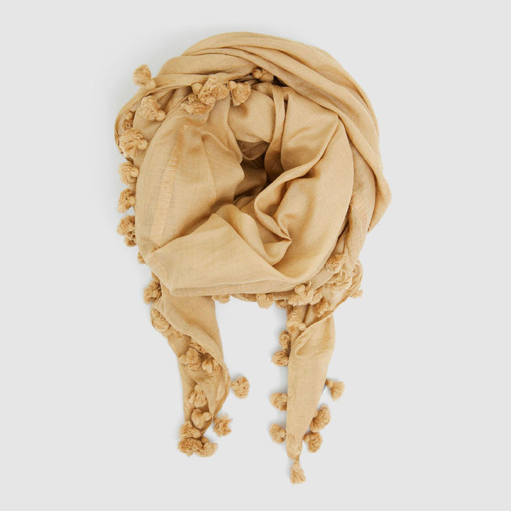 Pom Pom Scarf (Sand) by Cloth & Co