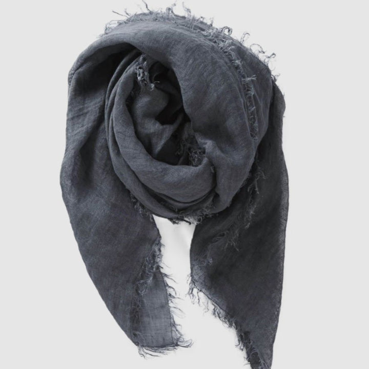Cloth & Co Linen Scarf - Steel Blue