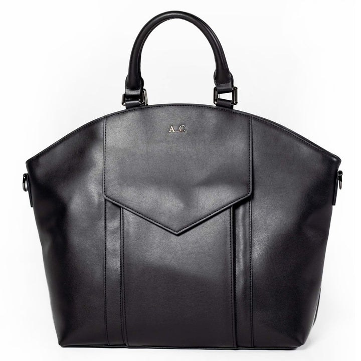 A_C Official Tote Modern II - Cactus Leather Black - Cruelty Free Handbag