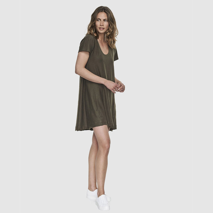 Slub Scoop V Dress - Olive