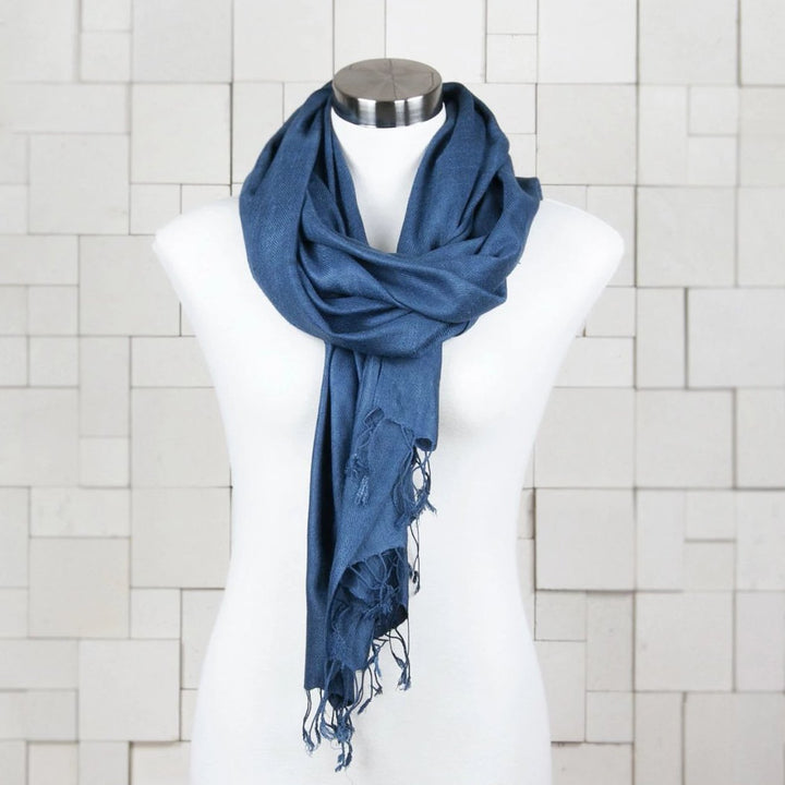 Finders and Makers Pure Vegan Eri Silk Scarf - Indigo