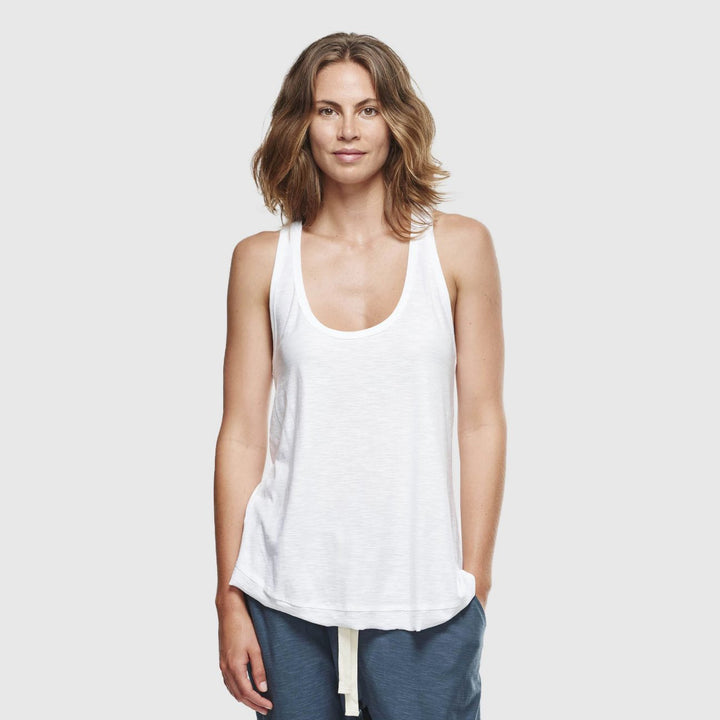 Organic Cotton Slub Singlet - White