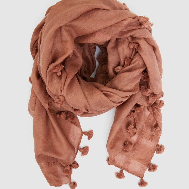 Pom Pom Scarf (Cedar Wood) by Cloth & Co