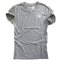 V-neck T-shirt - Athletic grey / Ecru  - Slim Fit