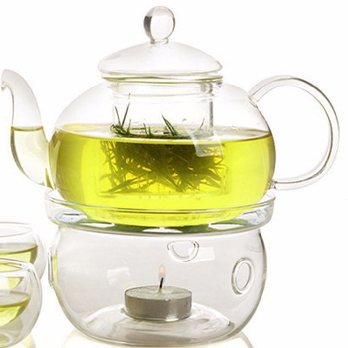 Glass Teapot 800ml with Warmer