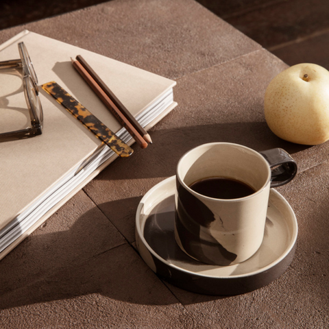Ferm Living - Inlay Ceramic Stoneware Cup and Saucer Set | Batten Home