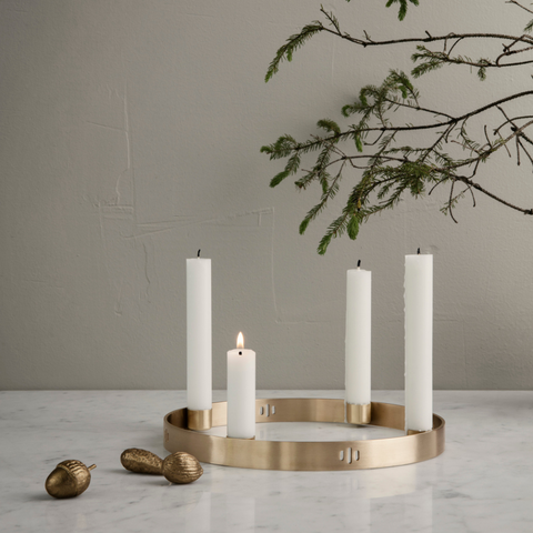Modern Centerpiece Ideas - Brass Circle Candle Holder | Ferm Living | Batten Home
