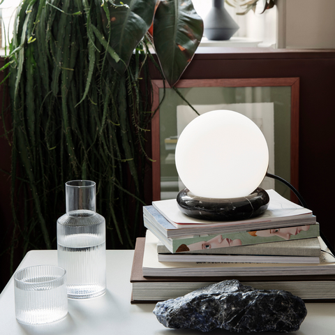 Black Marble and Glass Sphere Lamp - Ferm Living | Best Gifts For Homebodies | Batten Home