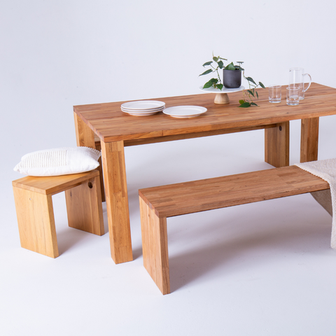 LAX Series Solid Walnut Dining Table Bench and Stool  | LAXseries solid wood modern furniture | Batten Home