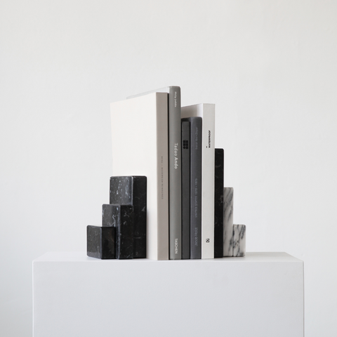Shelf styling - how to style shelves | Stone Sculptural Bookends - Kristina Dam Studio