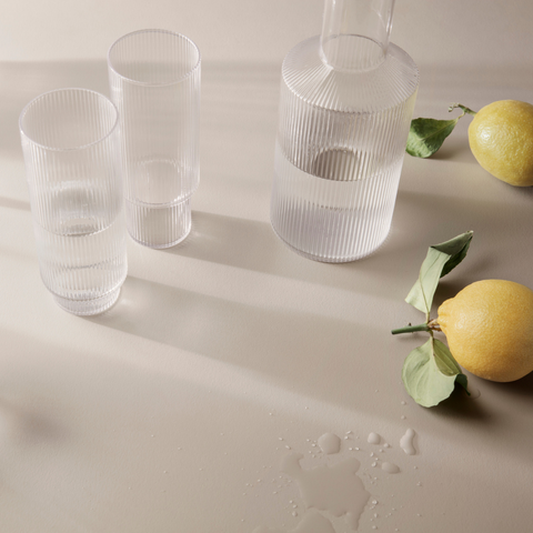 Ripple Glasses and Carafe - Ferm Living  | Gifts for the home | Scandinavian Furniture and Decor | Batten Home