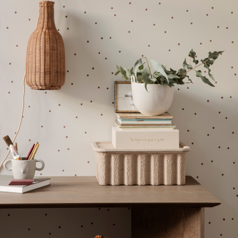 Shelf styling - how to style shelves | Ferm Living Paper Pulp Box Set
