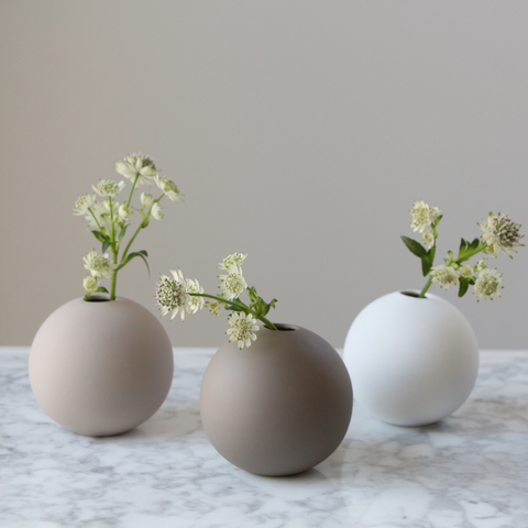 Cooee Design 8cm Ball Vases in Shell, Mud, White, and Grey