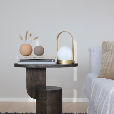 Assorted COOEE Design Ball Vases styled with the Menu Carrie Portable LED Lamp, Ferm Living Black Stained Insert Side Table