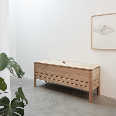 A Line Storage Bench - Form and Refine | Modern benches, bench with storage, entryway benches | Batten Home - Modern Scandinavian Home Decor and Furniture from Danish Design Brands