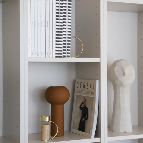 Minimalist Home Decor Items | Minimalist Concrete Sculptures - Adamo in Limestone styled on shelf | COOEE Design| Batten Home