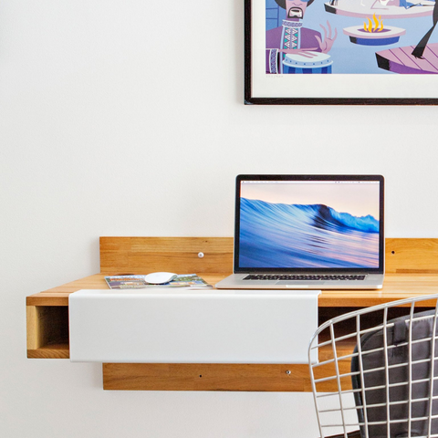 minimal solid wood wall mounted desk | LAXseries solid wood modern furniture | Batten Home