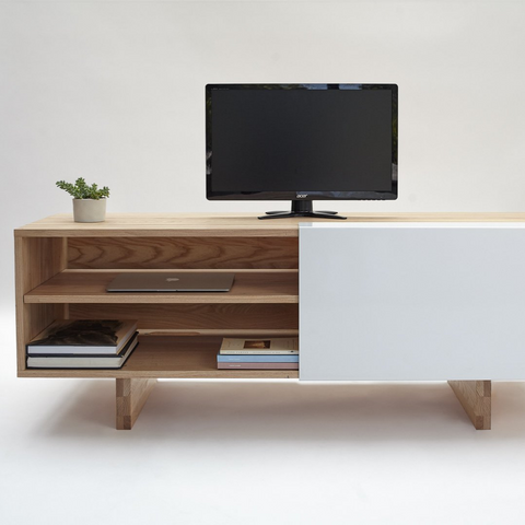 modern solid wood entertainment unit with storage | LAXseries solid wood modern furniture | Batten Home