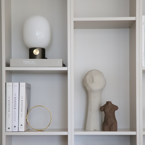 Shelf styling - how to style shelves | Minimal concrete Adamo sculpture by Cooee Design