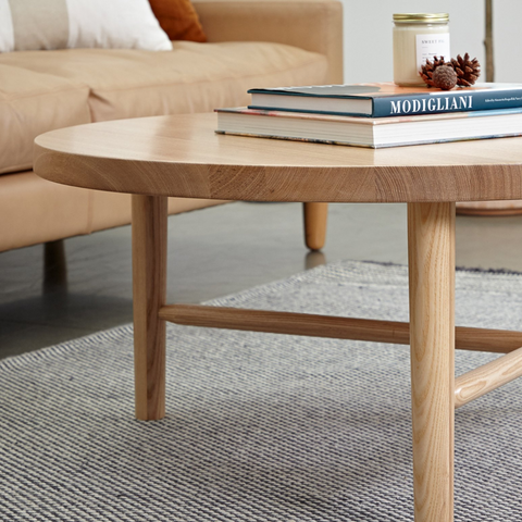 solid wood round coffee table  | LAXseries solid wood modern furniture | Batten Home