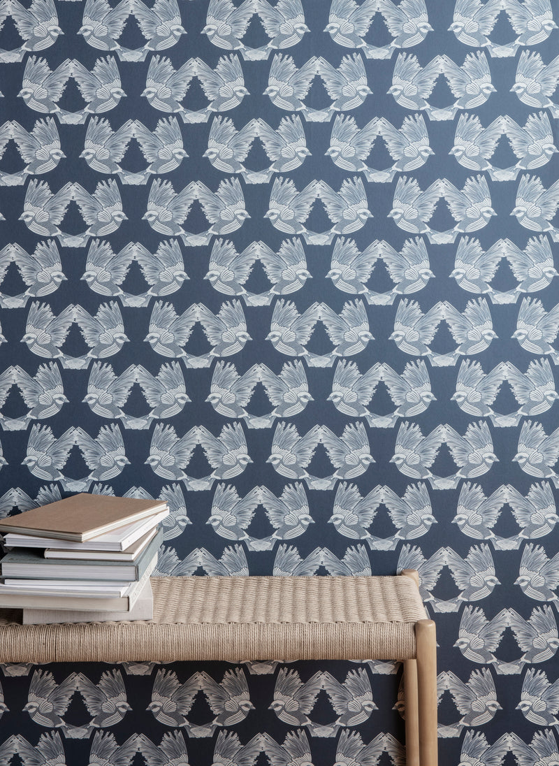 Ferm LivingBirds Wallpaper Dark Green/Off White - Batten Home