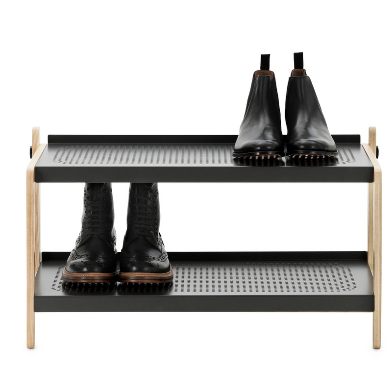 The Sko Shoe Rack is sure to be one of your favorite storage accessories. Designed by Simon Legald for Normann Copenhagen, this piece combines industrial style with simple and thoughtful design.