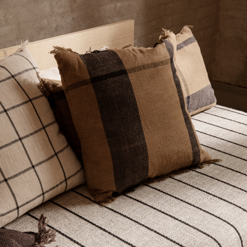 The Dry Cushion by Ferm Living is a beautiful, everyday cushion that looks stunning when styled in pairs or alongside the Ferm Living Dry Cushion Long. We love its plush size and the fringe detail that runs along two sides.