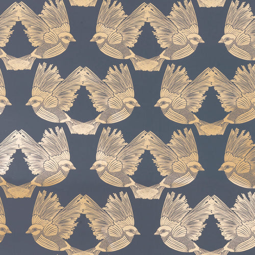 Ferm LivingBirds Wallpaper Deep Blue/Gold - Batten Home