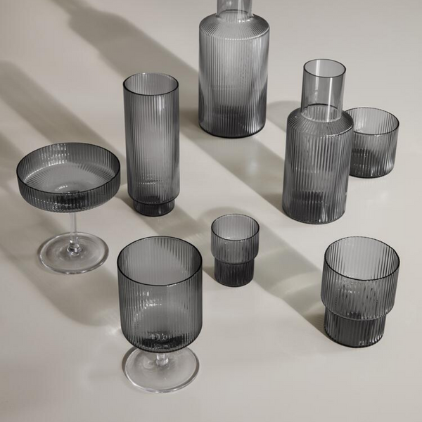 Ferm LivingRipple Small Glass Set in Smoked Grey - Batten Home