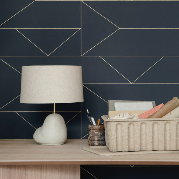 Ferm LivingLines Wallpaper Dark Blue - Batten Home