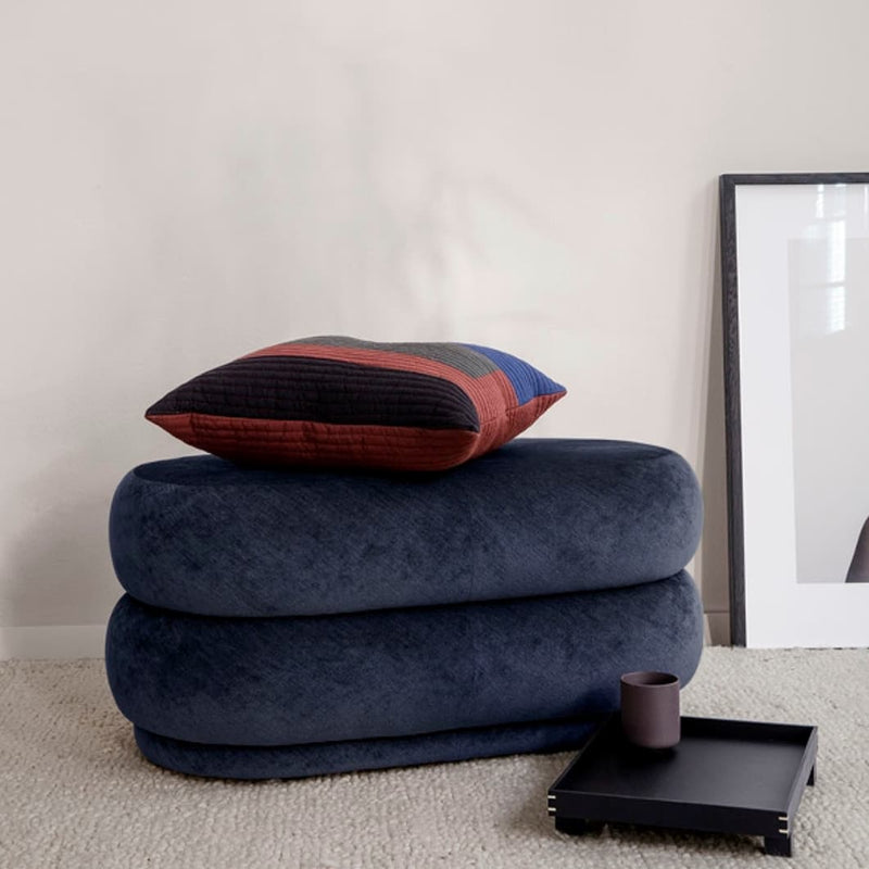 Ferm LivingPouf Faded Velvet Oval Medium Ocean - Batten Home