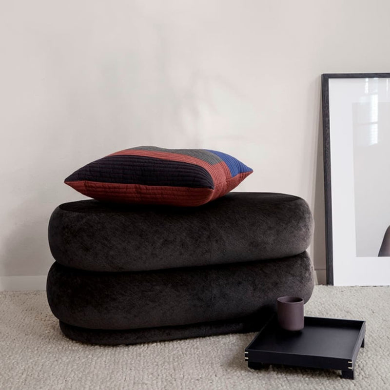 Ferm LivingPouf Faded Velvet Oval Medium Mokka - Batten Home