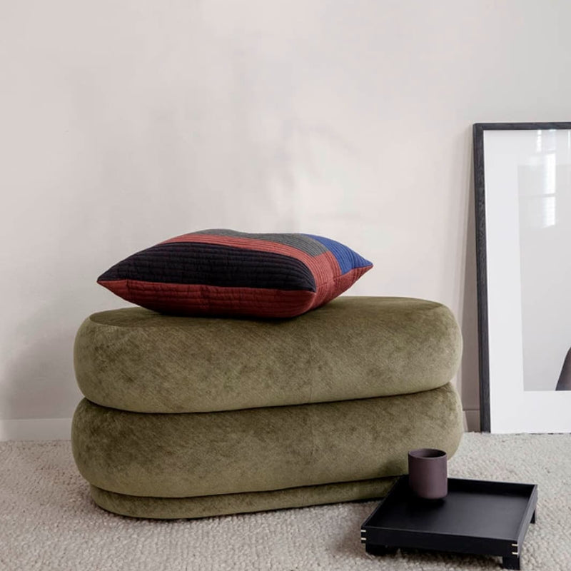 Ferm LivingPouf Faded Velvet Oval Medium Forest - Batten Home