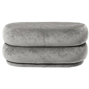Ferm LivingPouf Faded Velvet Oval Medium Concrete - Batten Home