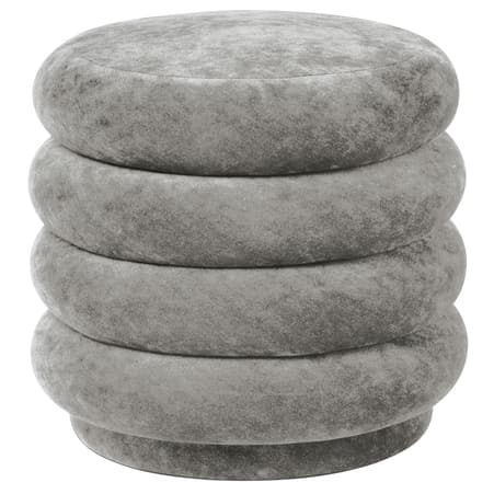 Ferm LivingPouf Faded Velvet Small Concrete - Batten Home