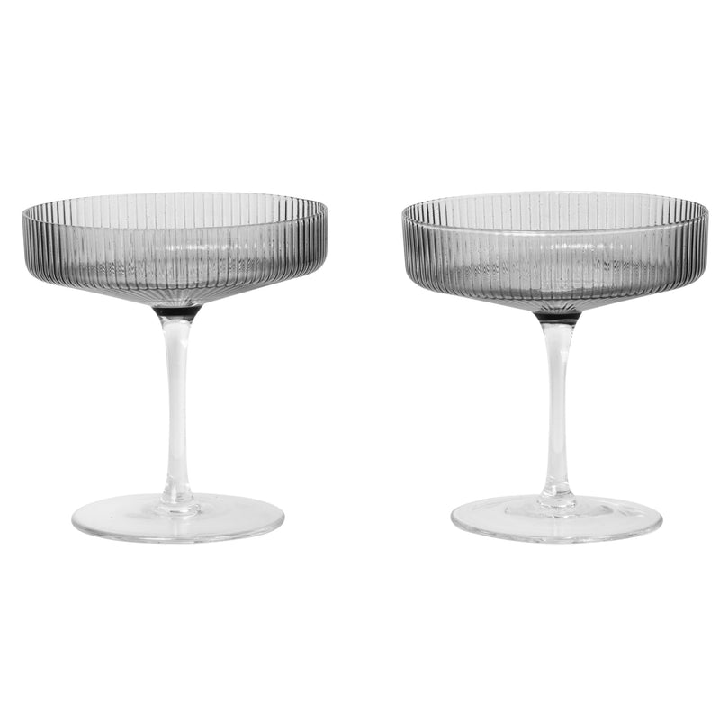 Ferm LivingRipple Champagne Glasses in Smoked Grey - Batten Home