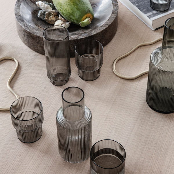 Ferm LivingRipple Glass Set in Smoked Grey - Batten Home