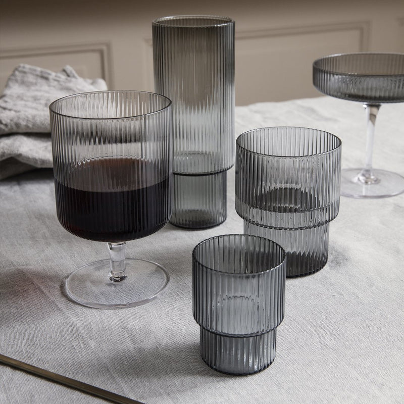 Ferm LivingRipple Wine Glass Set of 2 Smoked Grey - Batten Home