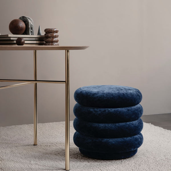 Ferm LivingPouf Faded Velvet Small Ocean - Batten Home