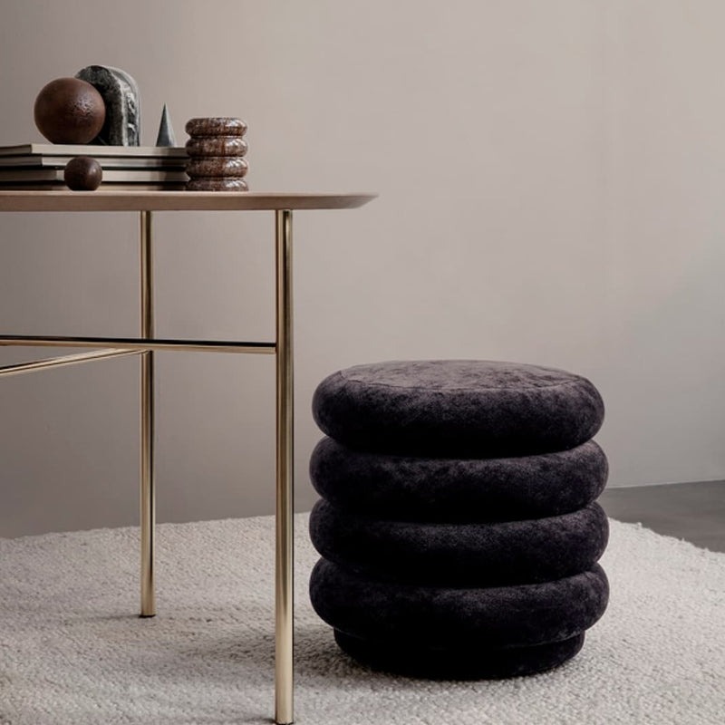 Ferm LivingPouf Faded Velvet Small Mokka - Batten Home
