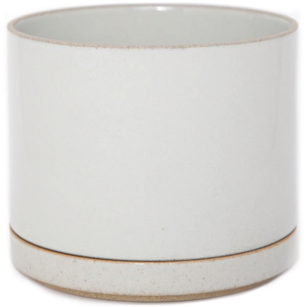 Hasami PorcelainLarge Planter and Saucer Set in Gloss Gray - Batten Home