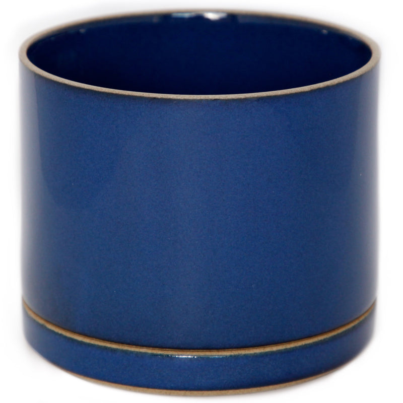 Hasami PorcelainLarge Planter and Saucer Set in Gloss Blue - Batten Home
