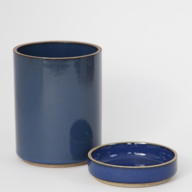 Hasami PorcelainSmall Planter and Saucer Set in Gloss Blue - Batten Home